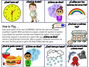 Spanish Basics Board Game (Book 1) ¿Cómo se dice?