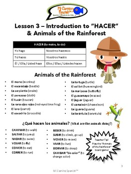 "Spanish Basics, Book 2 - Lesson 3: Intro to ""HACER"" & Animals of the Rainforest"