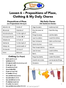 Spanish Basics, Book 2 - Lesson 6: Prepositions of Place, Clothing & My Chores