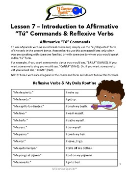 "Spanish Basics, Book 2 - Lesson 7: Affirmative ""Tú"" Commands & Reflexive Verbs"