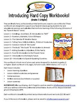 Spanish Basics Hard Copy Workbooks! - Grades 3-6 (Ground shipping included!)