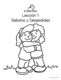 Spanish Greetings & Goodbyes - 8 fun worksheets! (Book 1, Lesson 1)