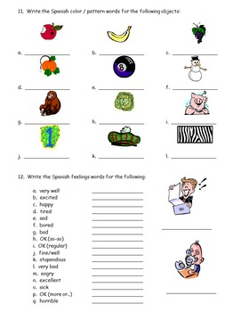 Spanish Basics Review - Colors, Alphabet, Feelings, and Greetings Worksheet