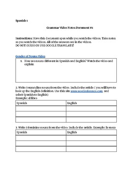 Spanish 1 Basics: Guided Video Notes #1