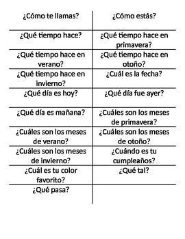 Spanish Basics Task Oriented Checklist Test
