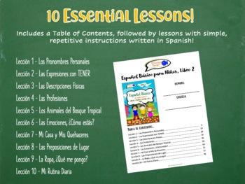 Spanish Basics Workbook for Grades K-1! Book 2 (Over 100 worksheets!)