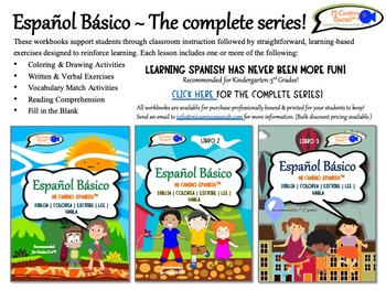 Spanish Basics for Kids Workbooks BUNDLE! - THE COMPLETE SERIES!