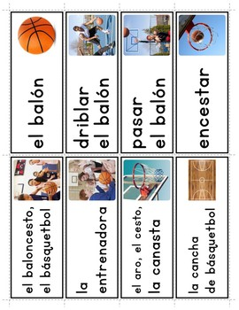 Spanish Basketball Vocabulary Posters & Flashcards with Real Photos