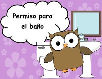 Spanish Bathroom Pass - Permiso para el baño