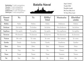 Spanish Battleship: 3 Tenses! (Print and Go!)