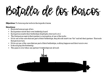 Spanish Battleship - Imperfect Tense