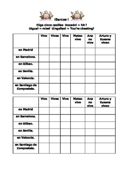 Spanish Teaching Resources. Battleships Game/ Lotto Grid Vivir & Spanish Towns