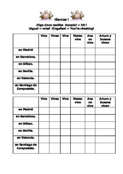 Spanish Teaching Resources. Battleships Game/ Lotto Grid Vivir & Spanish Towns