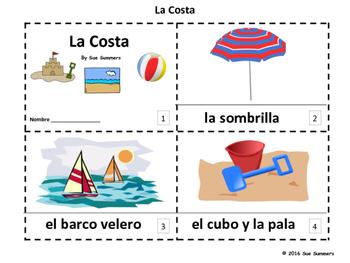 Spanish Beach / Seaside / Coast 2 Emergent Reader Booklets