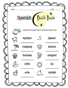 Spanish Beach Words Worksheet Packet