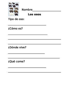 Spanish Bears Graphic Organizer (Organizador de los osos)