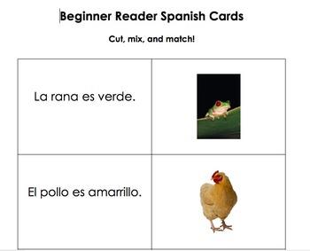 Spanish Beginner Reader cards
