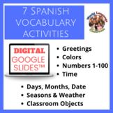 Spanish Beginner Topics Digital, Google Slides™ Vocabulary