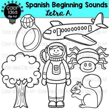 Spanish Beginning Sound Clip Art - Letra A