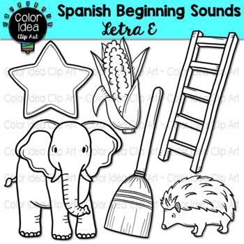 Spanish Beginning Sound Clip Art - Letra E