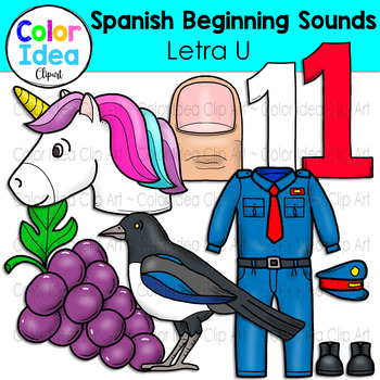 Spanish Beginning Sound Clip Art - Letra U