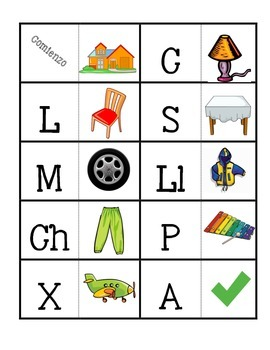 Spanish Beginning Sound Domino game