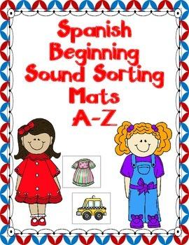 Dual Language:  Spanish Beginning Sound Learning Mats