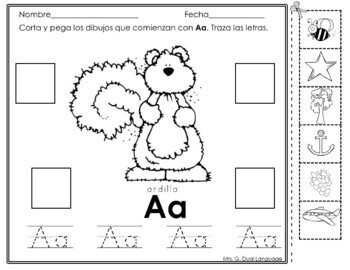Spanish Beginning Sounds: Trace, cut and paste