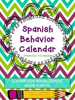 Spanish Behavior Calendar for ANY School Year!