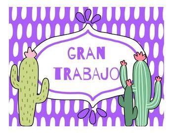 Spanish Behavior Clip Chart - Llama & Cactus Theme