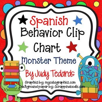 Spanish Behavior Clip Chart (MonsterTheme)