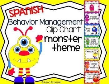 Spanish Behavior Management Clip Chart Monster Theme