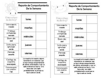Spanish Behavior Management Clip Chart Ocean Theme with Parent Reports