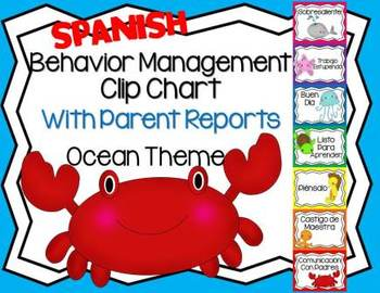 Spanish Behavior Management Clip Chart Ocean Theme with Parent Reports