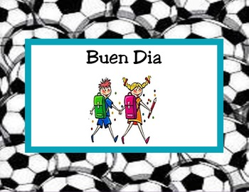 Spanish Behavior clip chart with soccer background