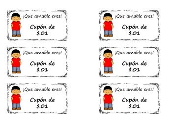 Spanish Behavior coupons with Money Counting (Spanish)
