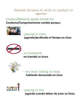 Spanish Behavior or Conduct message for Parents