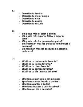 Spanish Bell Ringer Conversation Starters 1