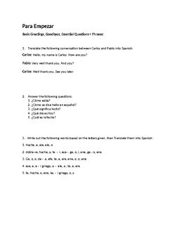 Spanish 1 Bell Work Collection of 70 Do Now, Bell Ringers, Realidades 1