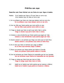 Spanish Bellwork Practice Worksheet on the Relative Pronoun Cuyo