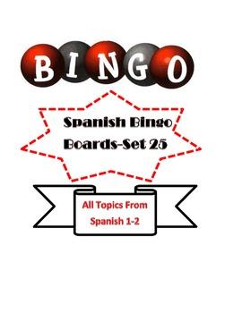 Spanish Bingo Boards Set 25