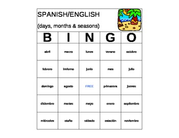 Spanish Bingo: Days & Months