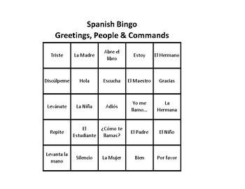 Spanish Bingo: Greetings, People, Commands