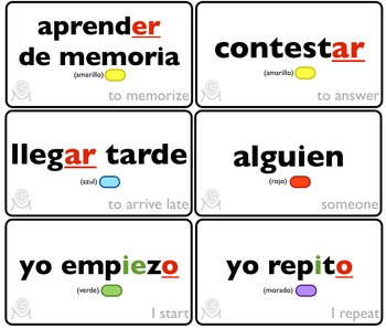 Spanish Bingo - Lotería Lo que hago en la escuela