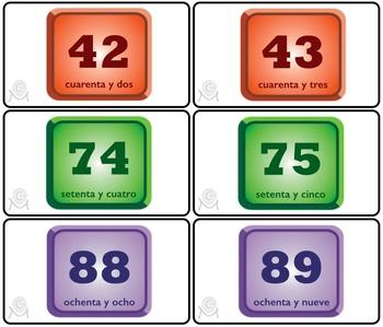 Spanish Bingo - Lotería Los números 0-100