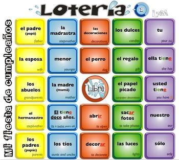 Spanish Bingo - Lotería Mi fiesta de cumpleaños