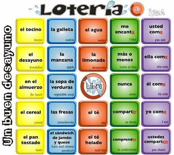 Spanish Bingo - Lotería Un buen desayuno