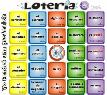 Spanish Bingo - Lotería Yo tendré una profesión