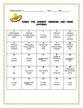 Spanish Bingo: Subject Pronoun and verbs, paired Activity