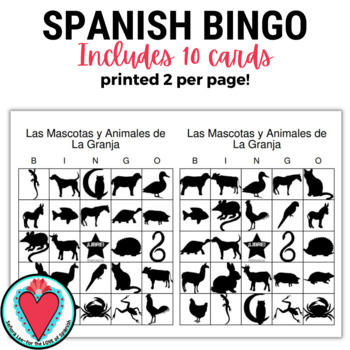 Spanish Bingo | Pets and Farm Animals